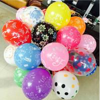 100 stücke Große Latex Romantische Runde luftballons Decahedron gedruckt Hochzeit Happy Birthday Party Feier Dekoration Ehe