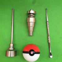 Glas Bong Tool Set med Pokeball Container Jar 10mm 14mm 18mm Justerbar Domeless GR2 Titan Nail Carb Cap Dabber Tool för glasrör