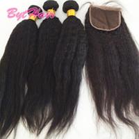 Bythair Sin procesar Yaki brasileño Paquetes de trama de cabello recto con cierres de encaje 4x4 Peruano Indio Malasio Extensiones de cabello humano Dyeable
