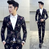 Meninos Design Floral Prom Smoking Mariage Costume Homme DJ Stage ternos para homens 2 PCS / Set (Jacket + Pants) Terno Fino Plus M-5XL