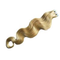 Blonde brasilianische Haarkörperwellenband-Erweiterungen Virgin 50g Haut Schusshaar-Erweiterungen Band in menschlichen Haarverlängerungen 20 Stück