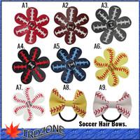 2017 Softball Baseball Fußball Leder Haar Blume Haarspangen Naht Haarbögen Team Farben Strass Super Bowl 9 farbe