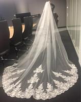 4 метра однослойная белая свадебная фата из слоновой кости с расческой Velos De Novia для новобрачных