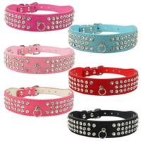(6 Farben gemischt) Marke Neue Wildleder Hundehalsbänder 3 Reihen Strass Hundehalsband Diamant Niedliche Pet Halsbänder 100% Qualität 4 Größen