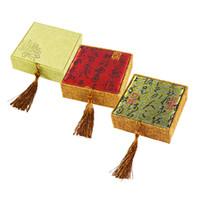 المجوهرات هدية مربع 3 اللون الكتان سوار الحالات مجوهرات عرض منظم حقيبة التخزين 10 * 10 * 3 سم