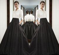 Hohe taille schwarz lange satinröcke breiter bund bodenlangen fehlschlag röcke nach maß hochwertige maxirock frühling sommer party dress