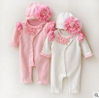 Dantel Prenses Stili Yenidoğan Bebek Kız Tulum Çiçek Şapka Bebekler Oufits N064 ile 2017 Yeni Bahar fırfır Uzun Kollu Pamuk Bebek Romper