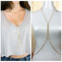 Gold Color Fishbone Body Chain Necklace Elegant Crossover Be...