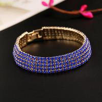 Bling bling strass senhora pulseiras para o baile de finalistas do partido do baile de finalistas desgaste 2017 luxo nupcial punhos para os casamentos de prata azul vermelho