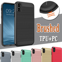 For iPhone X Case Hybrid Armor Brushed PC+ TPU Rugged Dual La...