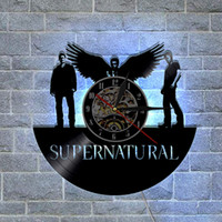 Supernatural CD Vinyl Record Wall Clock With LED Lighting, m...