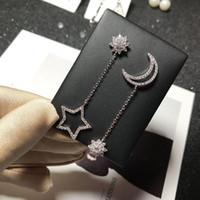 S925 Gümüş Saplama Küpe eardrop Uzun Yıldız Ay Mikro-kakma Zirkon Earbob Moda Küpe Gümüş Takı Hipoalerjenik
