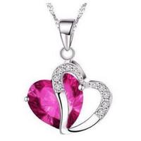 Romántico multicolor cristal amor colgantes del corazón collares baratos para mujeres joyería venta al por mayor de China envío gratis