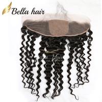 13 * 4 vague profonde dentelle Frontal avec 4 * 4 Base de soie Fermeture du Brésil humain postiches Couleur Noir Cheveux naturels Extensions de cheveux Bella