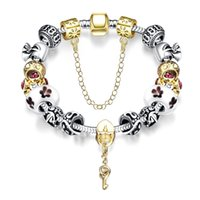 Beaded Charms Bracelet Bangle Silver Plated Snake Chains wit...