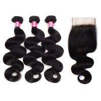 Расслоения Волны Тела 3 Малазийских Волос Бразильские С 3.5x4 кружева свободной части закрытия необработанной бразильской человека девственные волосы плетения пучки