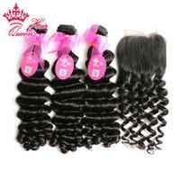 """Королева волос больше волны 1 шт. кружева закрытие с 3 шт. расслоение,4 шт./лот бразильские Виргинские человеческих волос расширения 10""""-28"""" DHL Бесплатная доставка"""