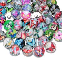 50pcs lot Fashion Mixed Colors Butterfly Series 18mm Glass S...