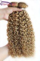 Honey Blonde Kinky Curly Malaysian Virgin Weft Bundles Barato Afro Kinky Armadura del pelo humano Color 27 Curly Strawberry Blonde Hair Extensions
