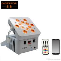 Guangzhou TIPTOP TP-G3038-6IN1 12 * Desarrollado 18W UV RGBWA 6en1 DJ Luz recargable de la batería plana DMX inalámbrico DMX LED Uplighting