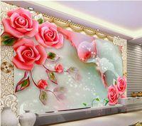 33D jade decoração da parede vinha rosa esculpida TV pintura mural 3d papel de parede 3d papéis de parede para TV pano de fundo