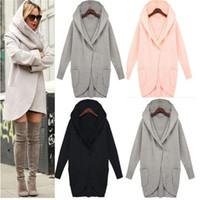 vestes femmes Casual manteau poches à manches longues tops dames d'hiver d'automne de la mode outwear longs manteaux ouc2034
