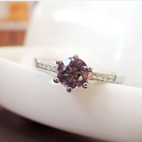 High quality 100% natural round brilliant cut amethyst ring ...
