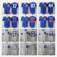 Hommes Mitchell # 23 Ryne Sandberg # 17 Kris Bryant # 44 Anthony Rizzo 100% Maillots cousus Chicago Cubs Throwback Replica Baseball Jersey