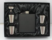 Matt black 6 oz hip flask gift set with 4 cups and one funnel