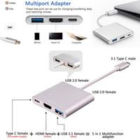맥북에 USB 3.1 타입 C HDMI에 USB-C 디지털 멀티 어댑터 4K 여성 2 포트 USB 3.0 허브 USB-C OTG 충전기