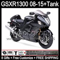 Gloss Black 8Gifts för Suzuki Hayabusa GSXR1300 08 15 GSXR-1300 14MY158 GSXR 1300 GSX R1300 08 09 10 11 12 13 14 15 Fairing Gloss Black Kit