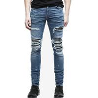 Jeans da uomo all'ingrosso estate strappato skinny jeans skinny jeans distrutti frayed slim fit denim pantaloni pantaloni matita pantaloni regolari