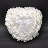 Love Heart White Crystal Pearl Bridal Ring Cuscino Organza Satin Lace Bearer Flower Rose Cuscini Bridal Supplies Beaded Bomboniere Box