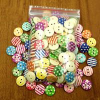 Botones de madera 15 mm tira puntos de flor 2 agujeros para caja de regalo hecha a mano Scrapbooking Artesanía Decoración del partido DIY costura dibujar
