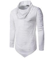 Montones Cuello Agujero Camiseta Hombres Largos Diseño Irregularidad Dobladillo de manga larga Hombres Camisetas Envío gratis Hip Pop Sport camiseta Moda 2018