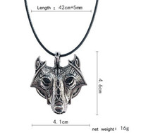 30pcs 42+ 5cm Vintage Norse Vikings Wolf Necklace Faux Leathe...