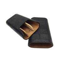 Top qualité noir couleur COHIBA humidificateur à cigare bois de cèdre doublé humidificateur portatif en cuir transportant des paquets de voyage accessoire de cigarette