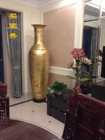 2017 cinese tradizionale artigianato intagliato pavimento in ceramica grande vaso lacca oro Home decor Arredamento Villa Hotel spedizione gratuita