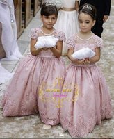 Real 2017 Nuovo arrivo Ball Gown Flower Girl Dresses per Matrimoni Maniche corte Girls Pageant Abiti vestidos de