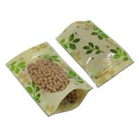 50 Pz / lotto 8.7 '' x11.8 '' (22x30 cm) Giallo chiaro Stand Up Green Leaf risigillabile Clear Window Storage Bag Ziplock sacchetto del pacchetto alimentare