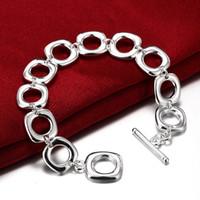 Nuevas joyas de pulsera de plata esterlina noble para mujer de los hombres de alta calidad, las cuatro pulseras cuadradas pulsera de cadena de plata geométrica H106