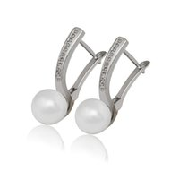 (387E) Smooth Simulated Pearl Earrings Hoop White Gold Fille...