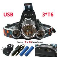 3T6 USB 10000 lumen led faro anteriore CREE XML T6 testa impermeabile Torcia testa luce 18650 batteria ricaricabile