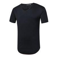 Compras online sólida cor preta t shirt homens 2017 V neck M ~ XXL mais recente t shirt projetos para homens