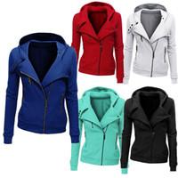 Wholesale- New Arrival Women Autumn Winter Padded Cotton Jackets Long Sleeve Women Hooded Solid Jackets Zip Warm Outerwear Coat