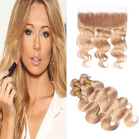 Brazilian Honey Blonde Virgin Hair Bundles With Lace Frontal...
