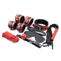 Связывание см секс игрушки для взрослых игры инструмент 7 в 1 с повязкой ожерелья рот кляп наручники кандалы хлыст эротическое позиционирование бандаж комплекты J-13