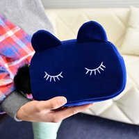 2017 New fashion cute suede cat makeup bag holding purse