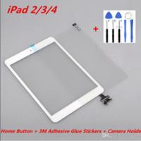 Für ipad 2 3 4 touch original screen digitizer assembly mit home button + 3 mt klebstoff aufkleber + kamerahalter + werkzeuge ersatzteile
