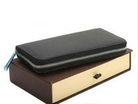Neueste Stil Leder Männer und Frauen Lange Brieftaschen Brieftaschen Einzel-Reißverschluss Geldbörse Kartenhalter (4 Farbe für Pick) # 60734 Mit Box Taschen